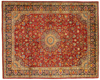 A Mashad carpet, handmade in the city of Mashad in the northeast of Iran.